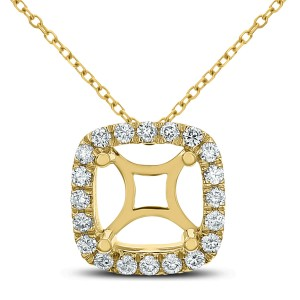 18KT 0.30 CT Diamond Square Pendant With Chain