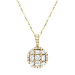 18KT .50 CT Diamond Round Cluster Pendant With Chain