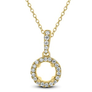 18KT 0.12 CT Diamond Open Circle Shaped Pendant With Chain