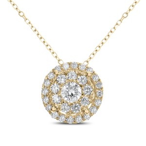 18KT 0.52 CT Diamond Round Cluster Pendant With Chain