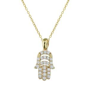 18KT 0.23 CT Diamond Hamsa Pendant With Chain