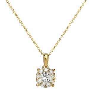 18KT 0.33 CT Diamond Round Pendant With Chain