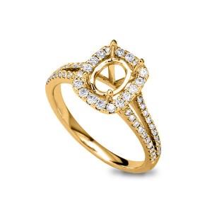 18KT 0.47 CT Halo Diamond Semi-Mount Ring