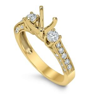 18KT 0.58 CT Diamond Semi Mount Ring