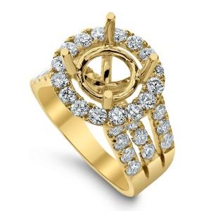 18KT 1.70 CT Halo Diamond Semi Mount Ring