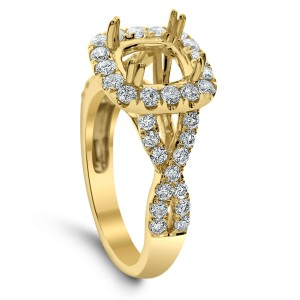 18KT 0.92 CT Halo Diamond Semi-Mount Twisted Ring