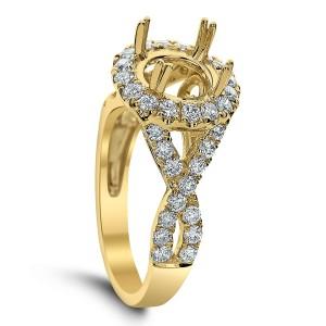 18KT 0.92 CT Halo Diamond Semi Mount Twisted Ring