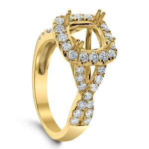 18KT 0.90 CT Halo Diamond Semi Mount Twisted Ring