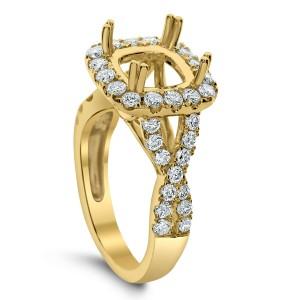 18KT 1.08 CT Halo Diamond Semi Mount Twisted Ring