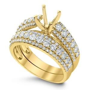 18KT 1.29 CT Halo Diamond Semi Mount Ring Set