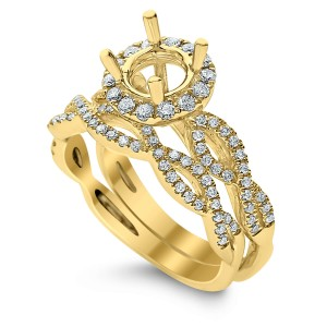 18KT 0.58 CT Halo Diamond Semi Mount Twisted Round Ring Set