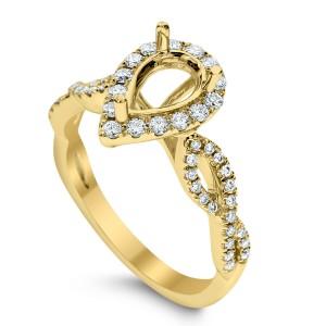 18KT 0.39 CT Diamond Semi Mount Twisted Pear Ring Set