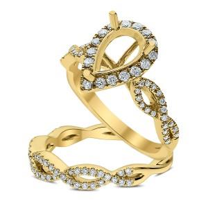 18KT 0.62 CT Diamond Semi Mount Twisted Pear Ring Set