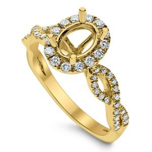 18KT 0.36 CT Halo Diamond Semi Mount Twisted Oval Ring