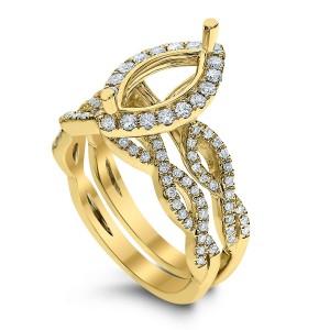 18KT 0.63 CT Halo Diamond Semi Mount Twisted Marquise Ring Set
