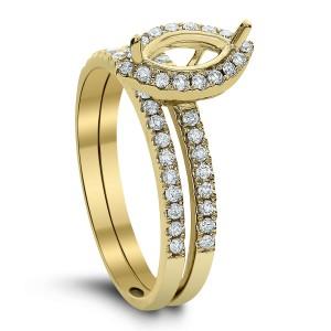 18KT 0.38 CT Diamond Semi Mount Marquise Ring Set