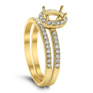 18KT 0.36 CT Diamond Semi Mount Round Ring Set