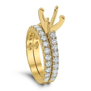 18KT 1.25 CT Diamond Semi Mounting Ring Set