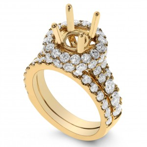 18KT 2.62 CT Halo Diamond Semi Mount Ring Set