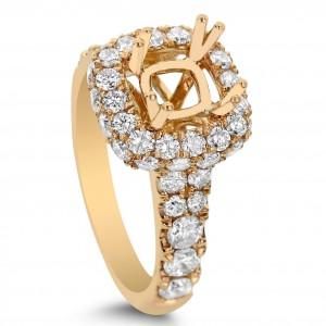 18KT 2.09 CT Halo Diamond Semi Mount Ring