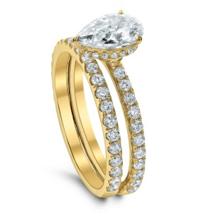 18KT 0.95 CT Diamond Semi Mount Pear Ring Set