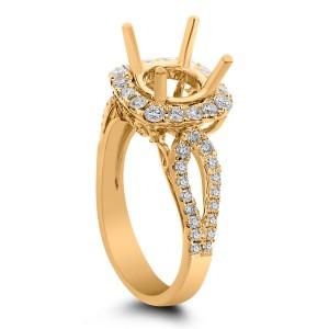 18KT 0.77 CT Halo Diamond Semi Mount Round Ring
