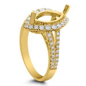 18KT 0.76 CT Halo Diamond Semi Mount Marquise Ring