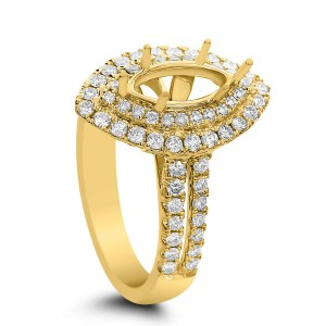 18KT 0.88 CT Double Halo Diamond Marquise Ring