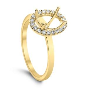 18KT 0.17 CT Halo Diamond Semi Mount Oval Ring