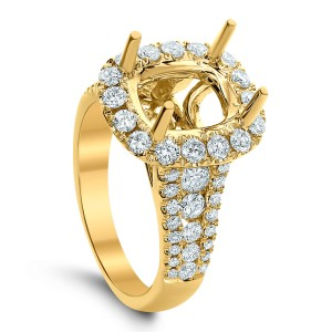 18KT 1.40 CT Halo Diamond Semi-Mount Ring