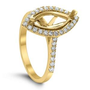 18KT 0.40 CT Halo Diamond Semi Mount Marquise Ring