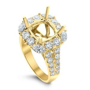 18KT 1.41 CT Halo Diamond Semi-Mount Square Ring