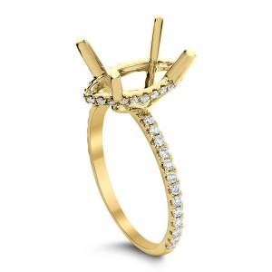 18KT 0.36 CT Diamond Semi-Mount Marquise Cut Ring