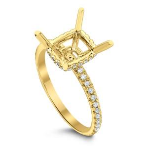 18KT 0.29 CT Diamond Semi mount Square Ring