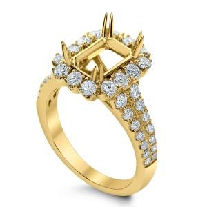18KT 1.10 CT Diamond Semi Mount Emerald Ring