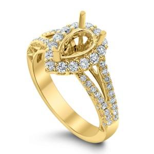 18KT 0.74 CT Halo Diamond Semi Mount Pear Ring