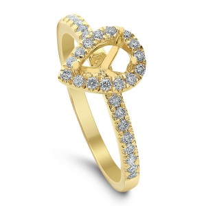 18KT 0.26 CT Halo Diamond Semi Mount Pear Ring