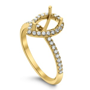 18KT 0.34 CT Halo Diamond Semi Mount Pear Ring