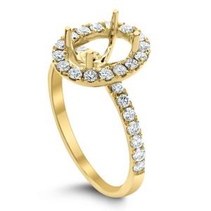 18KT 0.56 CT Halo Diamond Semi Mount Oval Ring